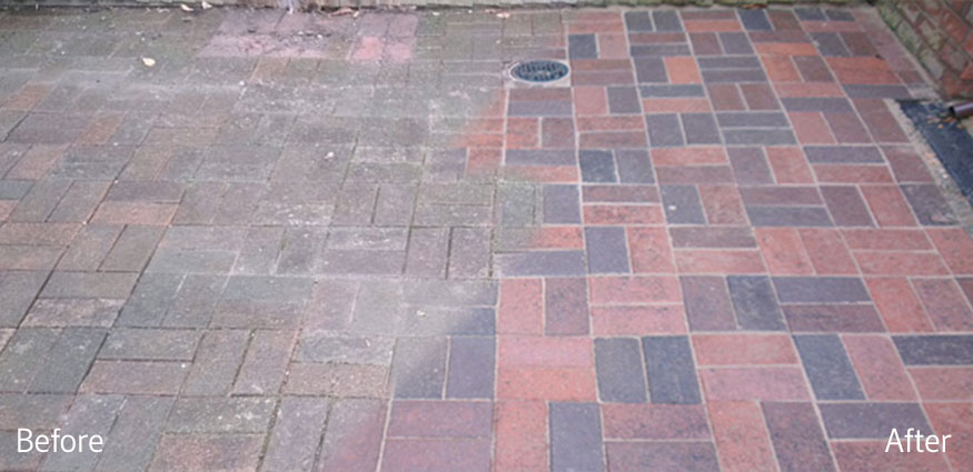 Photo of the difference that block paving cleaning makes by All Around Property Cleaning Ltd in Telford and Shropshire