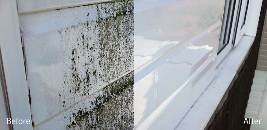 Photo showing mold and dirt on white upvc fascia before cleaning, and bright white clean fascia after cleaning.