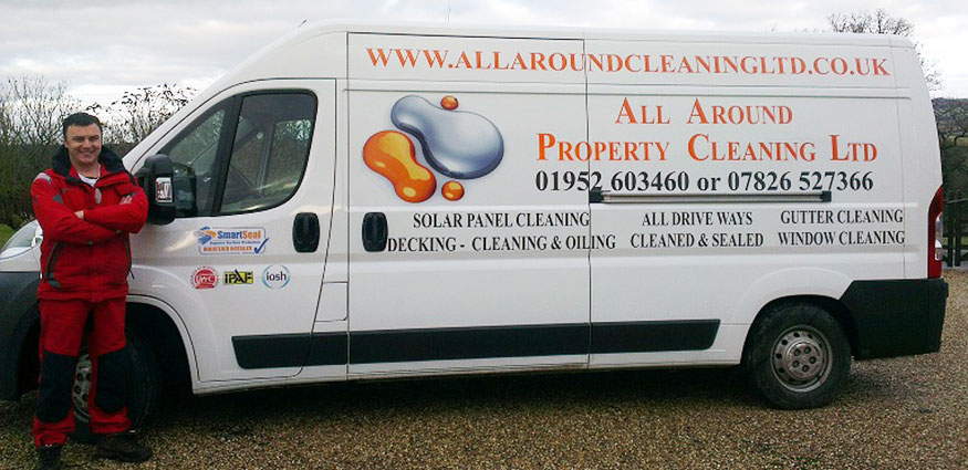 Photo of Steve Williams with All Around Property Cleaning Ltd van.