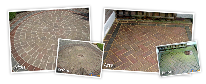 Photo showing the difference that block paving cleaning can make to the appearance of your garden.