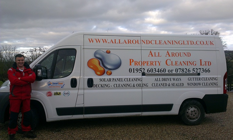Photo of All Around Property Cleaning Ltd van in Telford with Steve Williams.